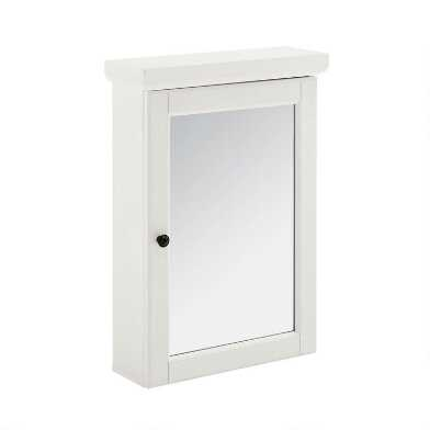 White Wood Delmar Bathroom Wall Cabinet with Mirror