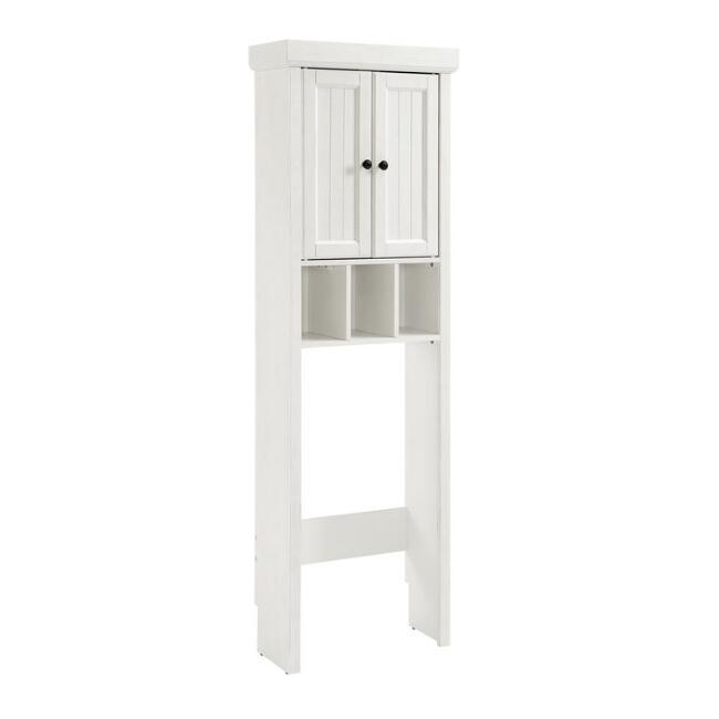 White Wood Delmar Bathroom Space Saver Cabinet