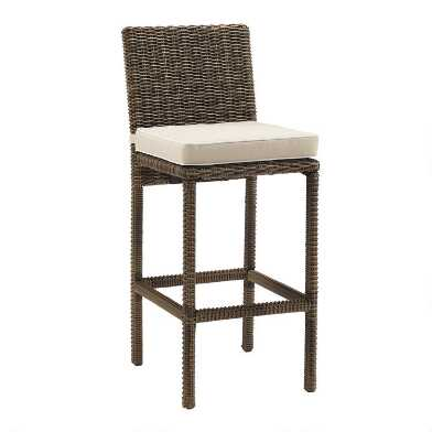 Brown All Weather Wicker Jace Outdoor Barstools Set Of 2