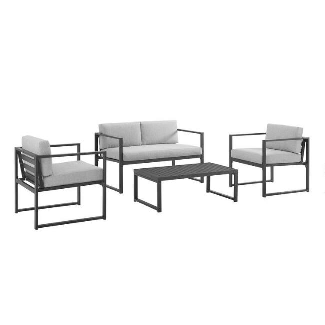 Modern Black Aluminum Echo 4 Piece Outdoor Occasional Set