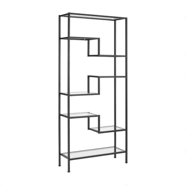 Matte Black Metal and Glass Ezra Etagere Shelf