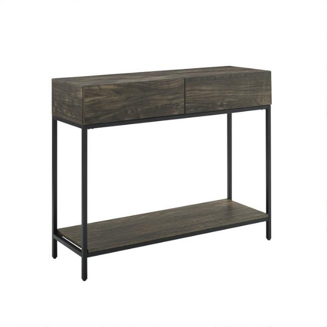Brown Ash and Matte Black Owen Console Table