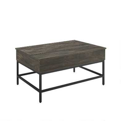 Brown Ash and Matte Black Lift Top Owen Coffee Table
