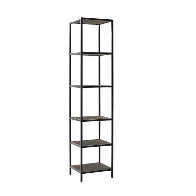 Brown Ash and Matte Black Owen Etagere Shelf