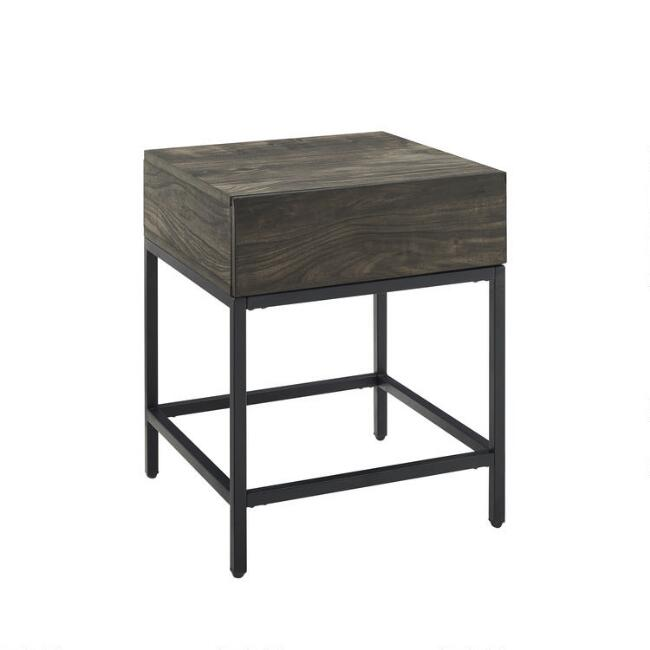 Brown Ash and Matte Black Owen End Table With Drawer