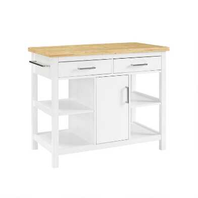 White And Natural Wood Edna Kitchen Island