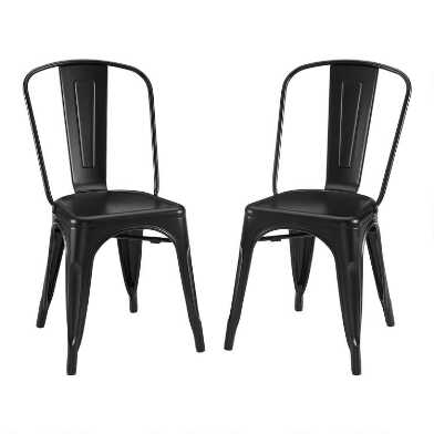 Matte Black Metal Josiah Dining Chairs Set Of 2