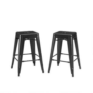 Matte Black Metal Backless Josiah Barstools Set Of 2