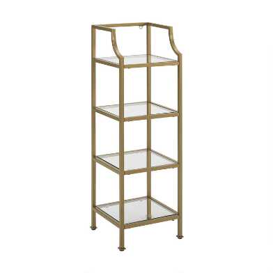 Metal And Glass Milayan Bathroom Etagere Shelf