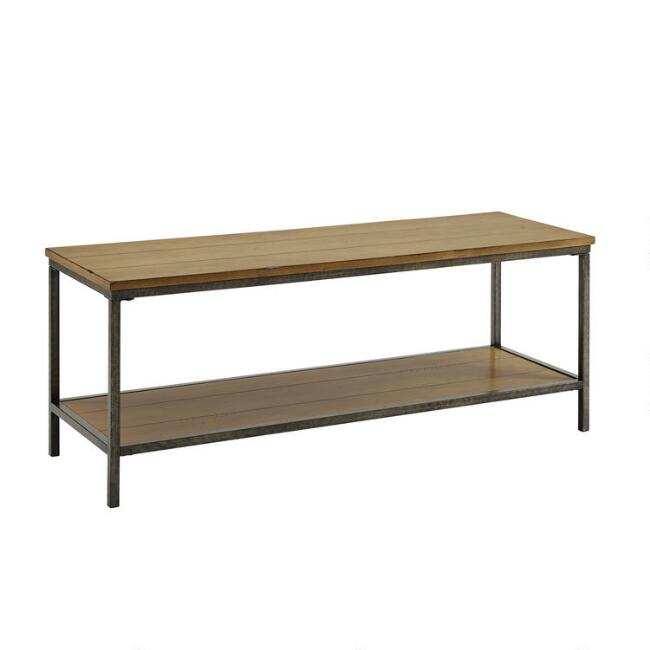 Washed Oak Wood And Steel Quinn Entryway Bench