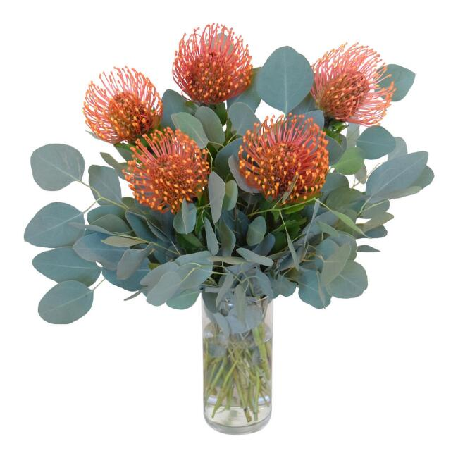 Fresh Orange Pincushion Protea and Eucalyptus Bouquet