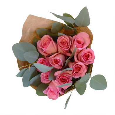 Fresh Pink Rose and Eucalyptus Bouquet