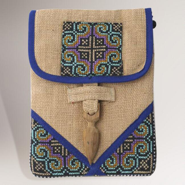 Novica Ultimate Blue Hemp Purse and Phone Pouch