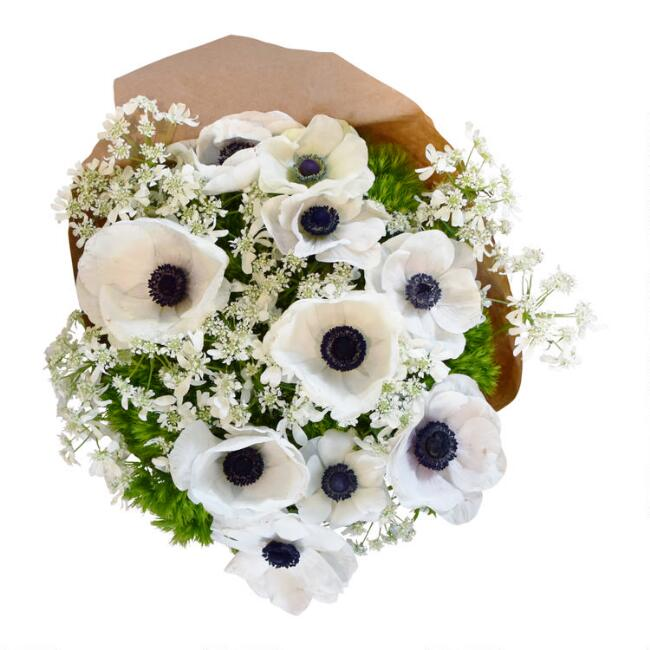 Fresh White Anemone and Orlaya Bouquet