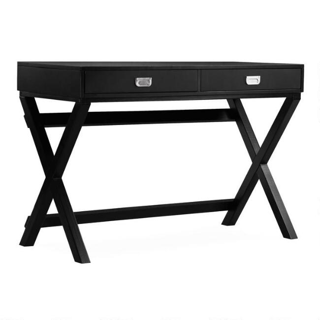 Wood Leah Campaign Desk with Drawers