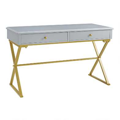 Wood and Gold Frame Empire Desk With Drawers