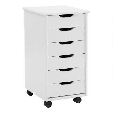 Pine Wood 6 Drawer Kerry Rolling Storage Cart