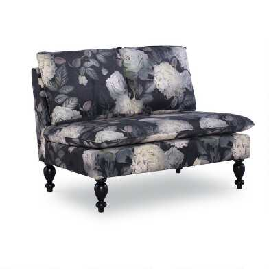 Black Midnight Floral Rae Upholstered Settee