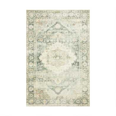 Ivory and Teal Medallion Rowan Area Rug