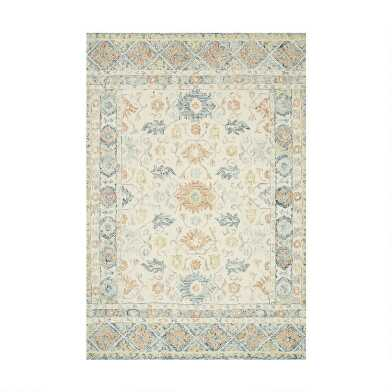Ivory And Blue Wool Nora Area Rug With Backing