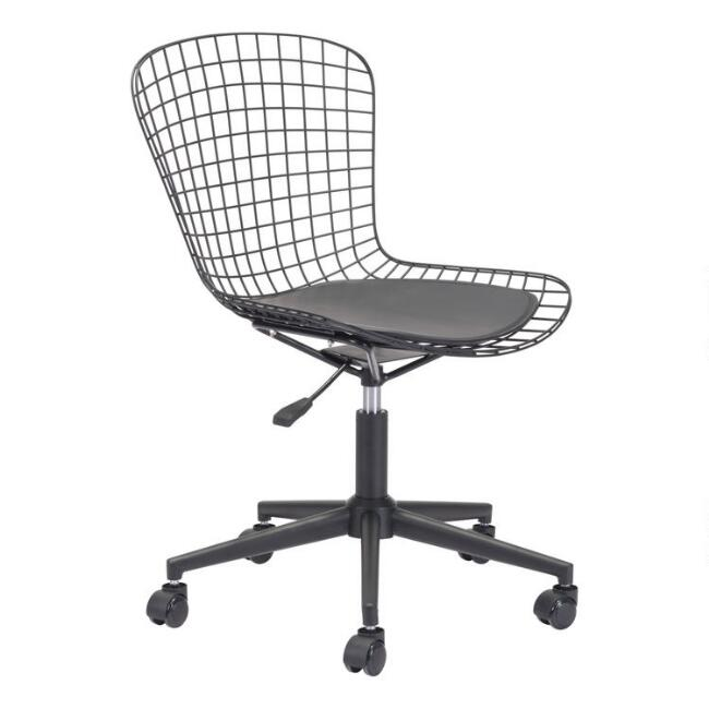 Black Wire Mozart Office Chair with Cushion