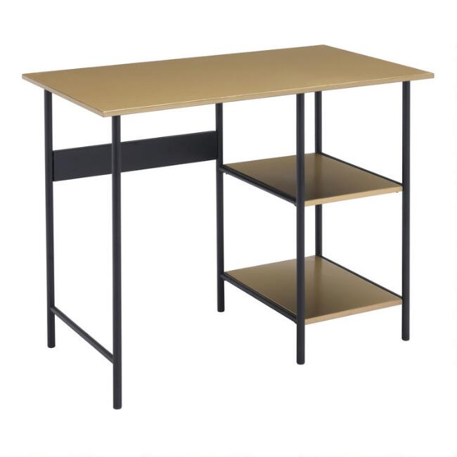 Brass and Black Steel Bartlett Desk With Shelves