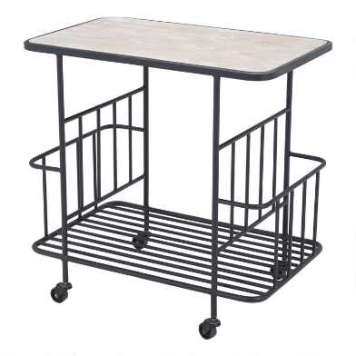 Steel and Wood Pacific 2 Tier Bar Cart