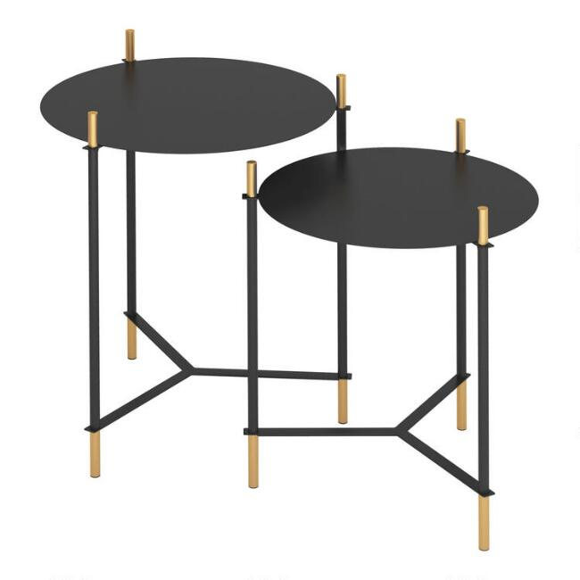 Round Black and Gold Buena Vista Accent Tables Set Of 2