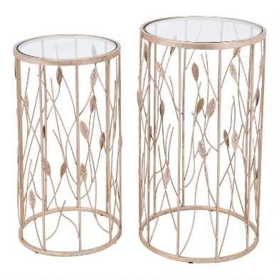 Round Gold Mirror Top Santa Clara Accent Tables Set Of 2