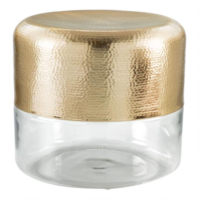 Round Gold and Glass Bay Accent Table