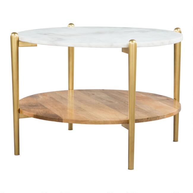 Round Marble And Wood Sherman Coffee Table With Shelf