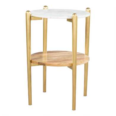 Marble and Wood Morton Accent Table