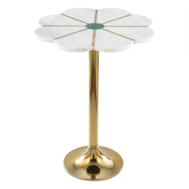 Indian Marble and Gold Metal Paru Accent Table