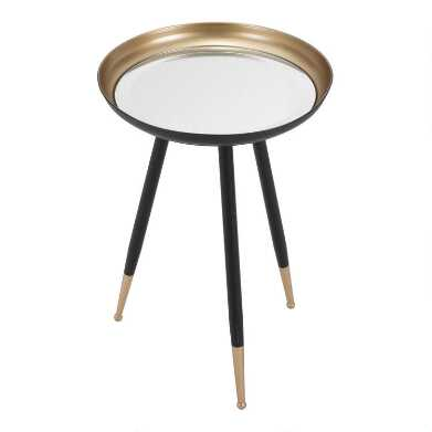 Round Black and Gold Mirrored Grand Accent Table