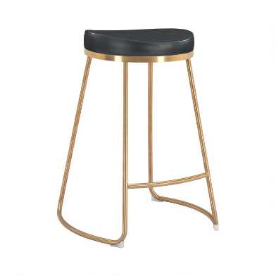 Faux Leather and Gold Backless Regent Counter Stool Set of 2