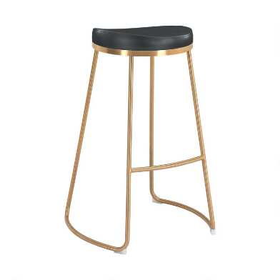 Faux Leather and Gold Backless Regent Barstools Set of 2