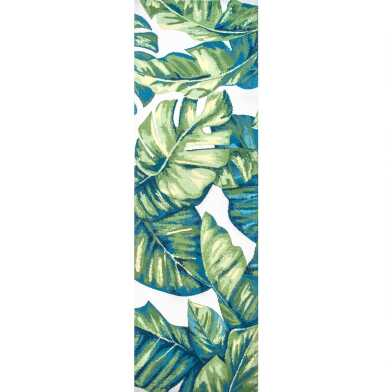 Green Tropical Palm Leaf Indoor Outdoor Floor Runner