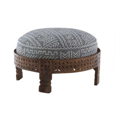 Carved Wood Jayate Upholstered Ottoman