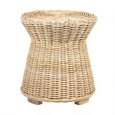 Round Natural Woven Rattan Portola Accent Table