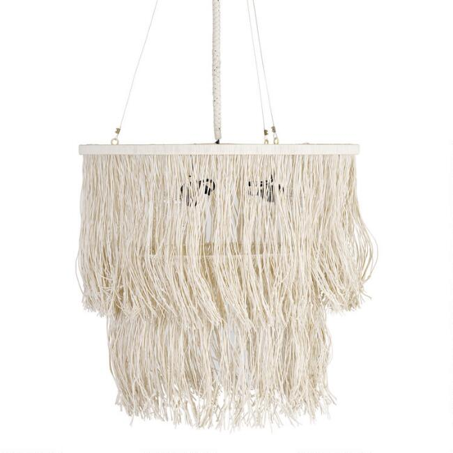 Off White Leather Fringe Tiered Drum Pendant Lamp