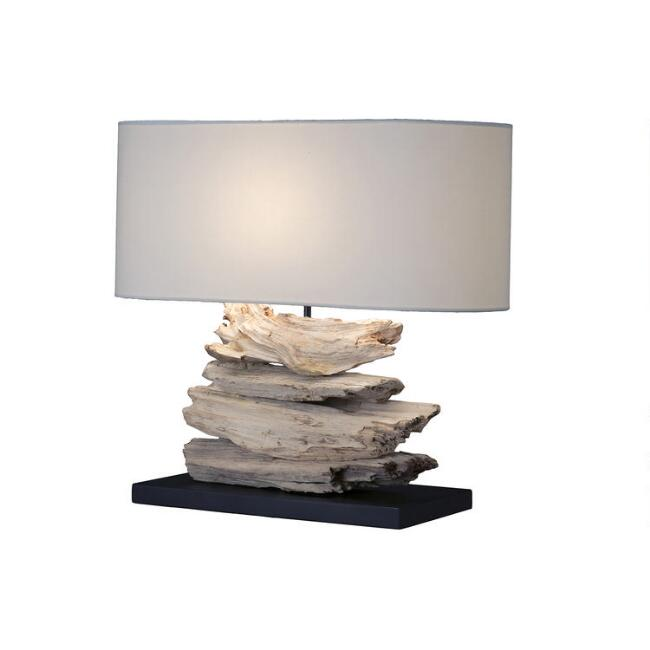 Oval Natural Driftwood Table Lamp