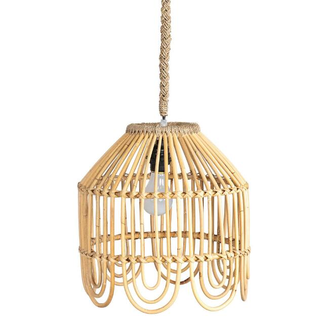 Natural Rattan Scalloped Belden Pendant Lamp