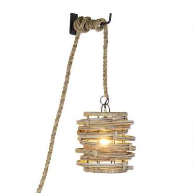 Gray Abstract Rattan Wall Sconce
