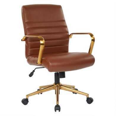 Faux Leather and Gold Armstrong Upholstered Office Chair