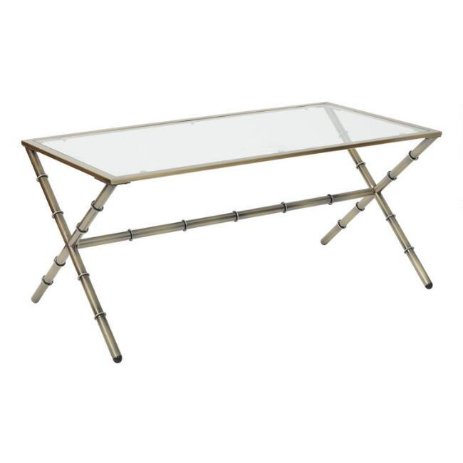 Antique Brass and Glass Bella Coffee Table