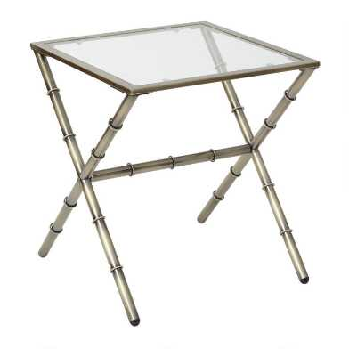 Antique Brass and Glass Bella Accent Table