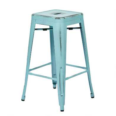 Antique Metal Backless Mason Counter Stool Set of 2