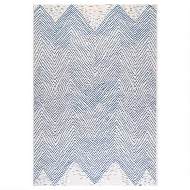 Blue And White Chevron Destin Indoor Outdoor Rug