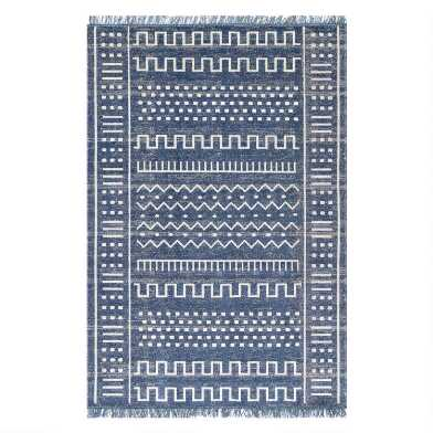 Navy Blue And White Geo Luxor Indoor Outdoor Rug