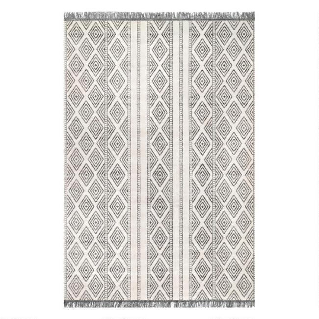 Gray And Ivory Lattice Stripe Cairo Indoor Outdoor Rug